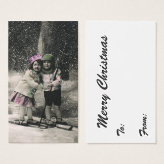 Vintage Christmas, Best Friends on Skis Business Card