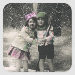 Vintage Christmas, Best Friends on Skis Square Sticker