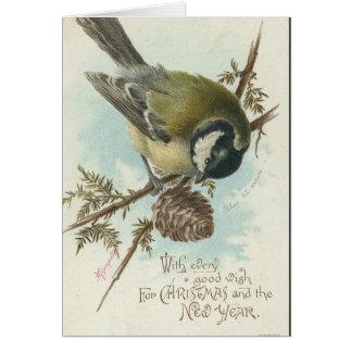 Vintage Christmas Bird and Pinecone Card