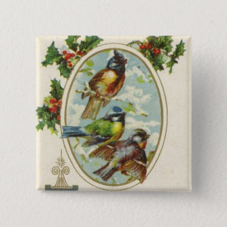 Vintage Christmas bird Holiday button