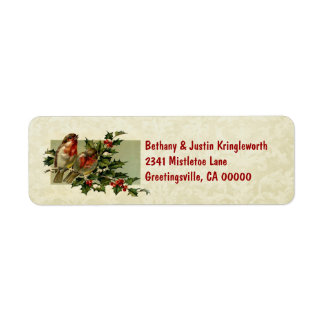 Vintage Christmas Birds and Holly CH504 Label