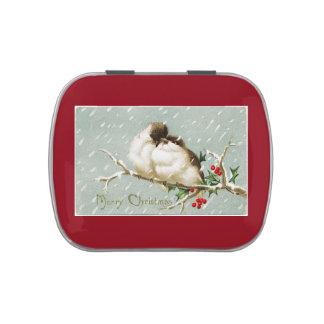 Vintage Christmas Birds Candy Tins