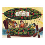 Vintage Christmas - Birds in a Airship Postcards