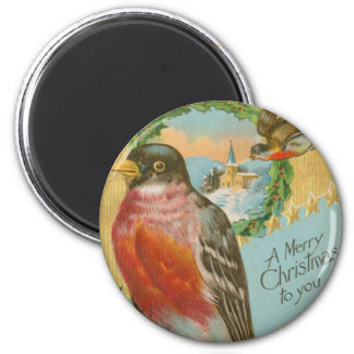 Vintage Christmas Birds Magnet