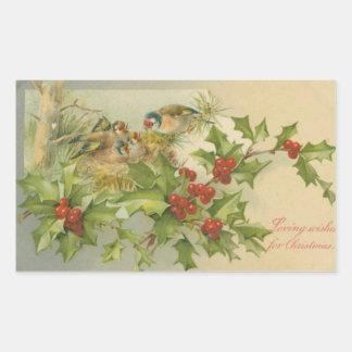 Vintage Christmas Birds Nest Sticker