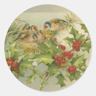 Vintage Christmas Birds Nest Round Sticker