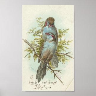 Vintage Christmas Birds Poster