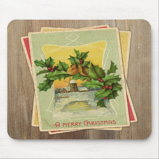 Vintage Christmas Birds w Holly Windmill on Wood Mouse Pads