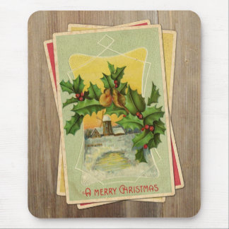 Vintage Christmas Birds w/Holly & Windmill on Wood Mouse Pad