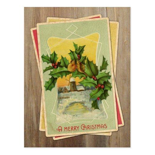 Vintage Christmas Birds w/Holly & Windmill on Wood Postcard