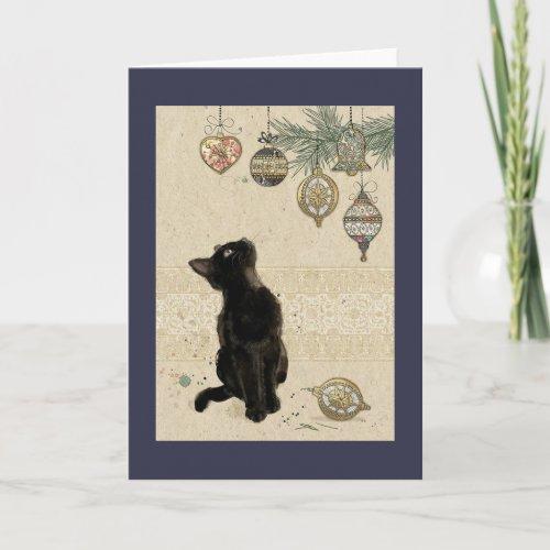 Vintage Christmas Black Cat Looking At Ornaments Holiday Card