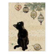 Vintage Christmas Black Cat Looking At Ornaments Postcard
