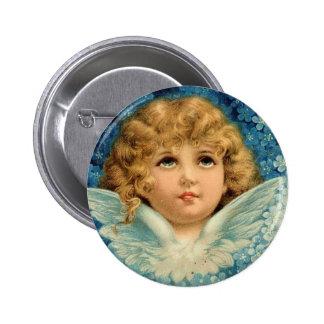 Vintage Christmas Blue Angel Cherub Child Brundage Pinback Button