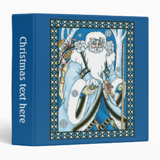 Vintage Christmas, Blue Santa Claus with Snowglobe 3 Ring Binder