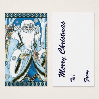 Vintage Christmas, Blue Santa Claus with Snowglobe Business Card