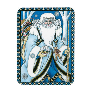 Vintage Christmas, Blue Santa Claus with Snowglobe Magnet