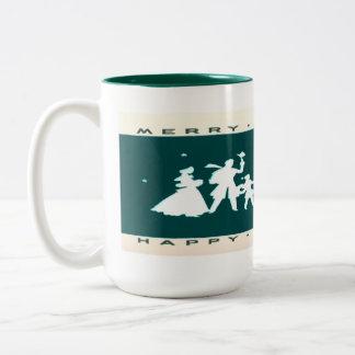 Vintage Christmas Blue Silhouette Mug