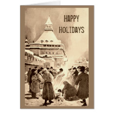 Vintage Christmas Bonfire in Russia Card at Zazzle