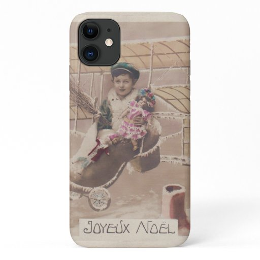 Vintage Christmas Boy Flying Airship Fantasy iPhone 11 Case