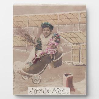 Vintage Christmas Boy Flying Airship Fantasy Plaque
