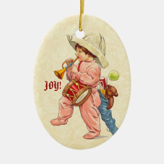 Vintage Christmas Boy Marching with Trumpet Drum Ceramic Ornament