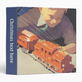 Vintage Christmas, Boy Playing with Toys Trains Vinyl Binder