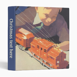 Vintage Christmas, Boy Playing with Toys Trains Binder