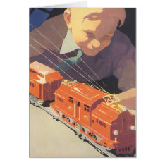 Vintage Christmas, Boy Playing With Toys Trains Card at Zazzle