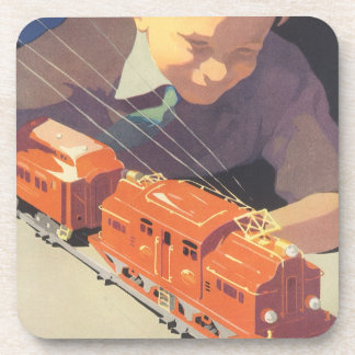 Vintage Christmas, Boy Playing with Toys Trains Coaster
