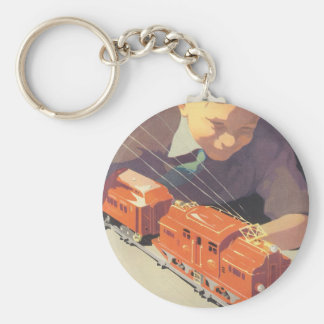 Vintage Christmas, Boy Playing with Toys Trains Basic Round Button Keychain
