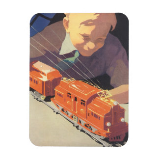 Vintage Christmas, Boy Playing with Toys Trains Magnet