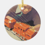 Vintage Christmas, Boy Playing with Toys Trains Double-Sided Ceramic Round Christmas Ornament