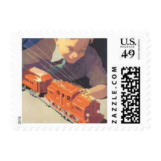 Vintage Christmas, Boy Playing with Toys Trains Stamps
