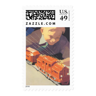 Vintage Christmas, Boy Playing with Toys Trains Postage Stamps