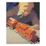 Vintage Christmas, Boy Playing with Toys Trains Poster