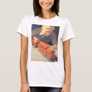 Vintage Christmas, Boy Playing with Toys Trains T-Shirt