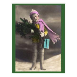 Vintage Christmas Boy, Tree & Gifts Postcard