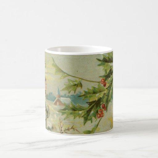 Vintage Christmas Bridge and Children Classic White Coffee Mug