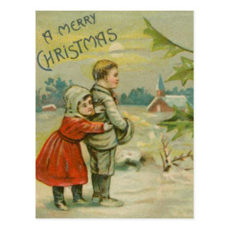 Vintage Christmas Bridge and Children Postcard