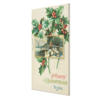 Vintage Christmas Bridge and Holly Canvas Print