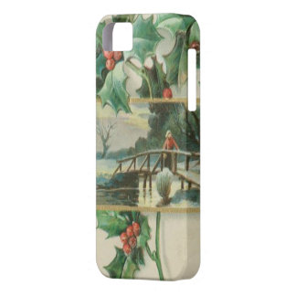 Vintage Christmas Bridge and Holly iPhone 5 Cases