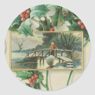 Vintage Christmas Bridge and Holly Classic Round Sticker