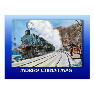 Vintage Christmas, Brienz, Railroad by the lake Postcard