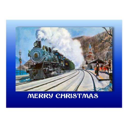 Vintage Christmas, Brienz, Railroad by the lake Post Card