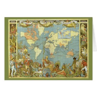 Vintage Christmas British Empire Antique World Map Card