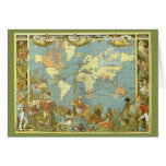 Vintage Christmas British Empire Antique World Map Greeting Card