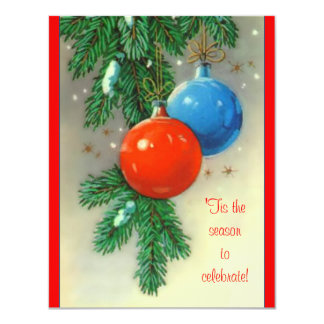 Vintage Christmas Bulbs Party Invitation