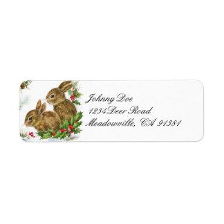 Vintage Christmas Bunnies Address Avery Label