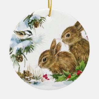 Vintage Christmas Bunnies Ceramic Ornament