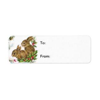 Vintage Christmas Bunnies Gift Tag Avery Label